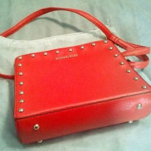 Handbags - Dark Coral Studded Shoulder Bag